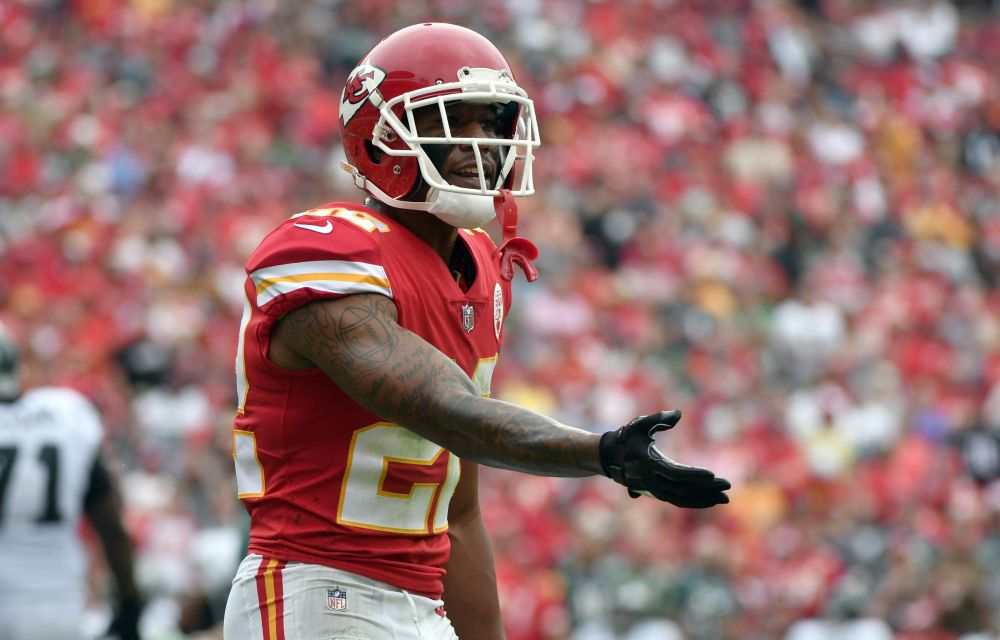 Kansas City Chiefs defensive back Marcus Peters (22) has continued to sit for the national anthem. (AP)