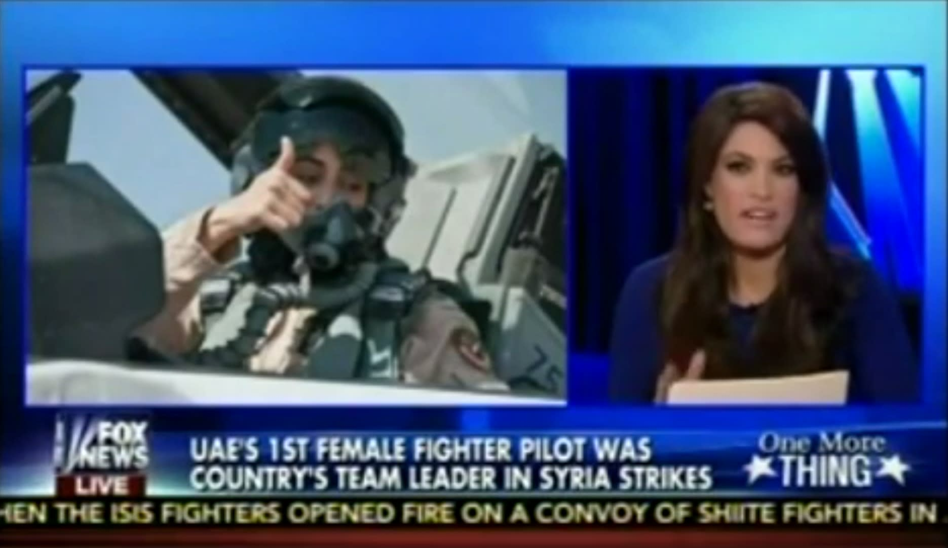Fox News host Kimberly Guilfoyle (right) salutes U.A.E. Air Force Maj. Mariam al-Mansouri (left) for being a female fighter pilot bombing a place where women are not allowed to drive. (Fox News)