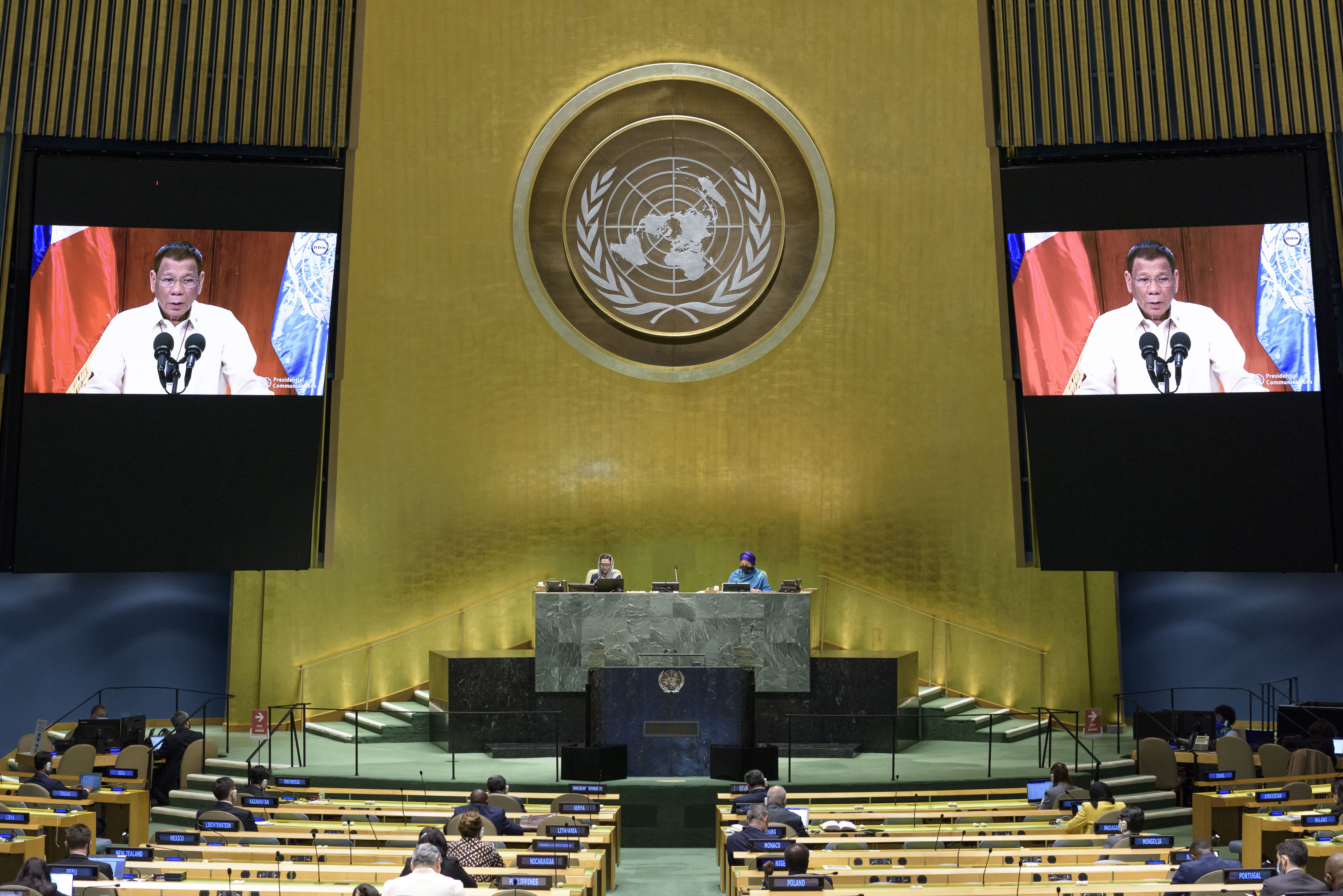 In this photo provided by the United Nations, the President of the Republic of the Philippines, Rodrigo Roa Duterte's pre-recorded message is played during the 75th session of the United Nations General Assembly, Tuesday, Sept. 22, 2020, at U.N. headquarters. The U.N.'s first virtual meeting of world leaders started Tuesday with pre-recorded speeches from some of the planet's biggest powers, kept at home by the coronavirus pandemic that will likely be a dominant theme at their video gathering this year. (Manuel Elias/UN Photo via AP)