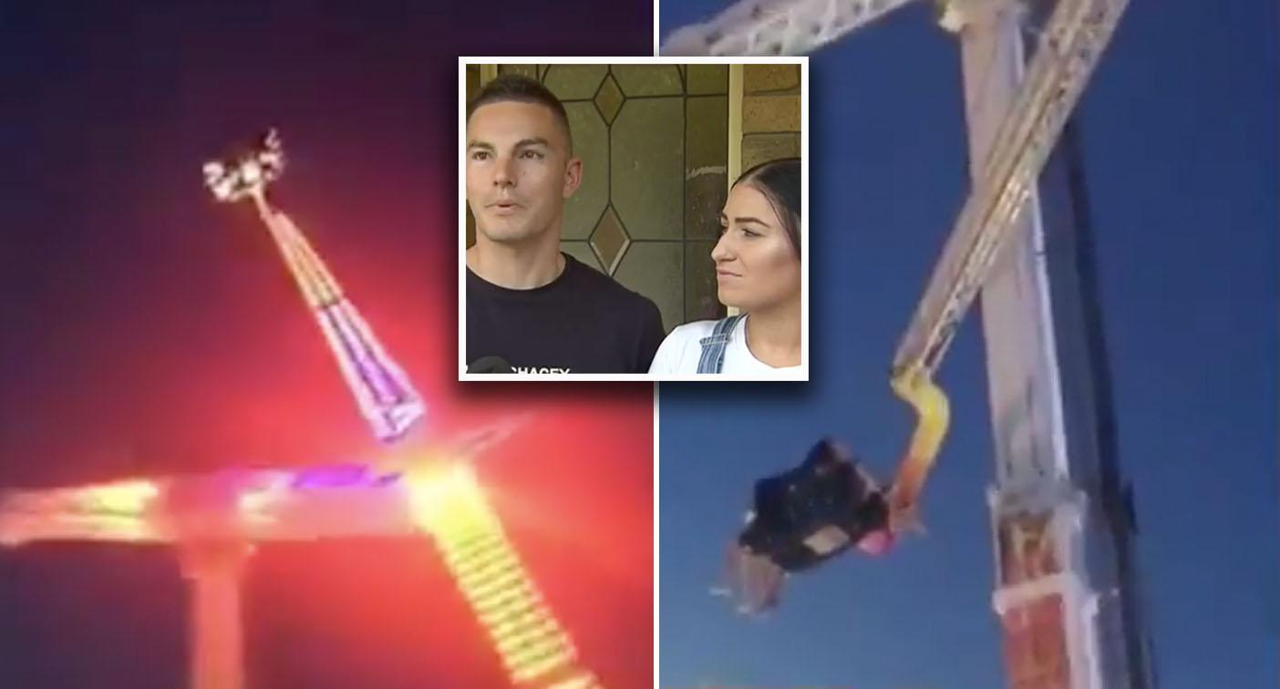 Terrifying moment couple left dangling mid-air after Adelaide ride malfunctions