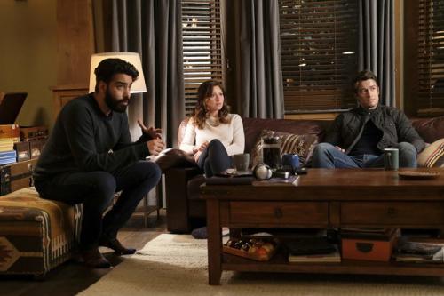 Rahul Kohli as Ravi, Aly Michalka as Peyton and Robert Buckley as Major in the CW's iZombie. (Photo Credit: Robert Falconer/The CW)