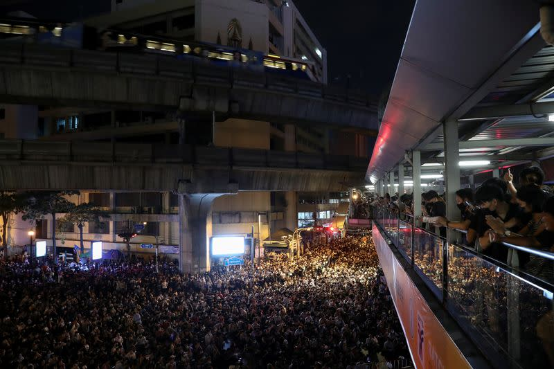Pro-democracy protesters gather demanding the government and to release detained leaders, in Bangkok