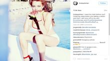 Lindsay Lohan Looks Baywatch-Ready in a Cutout Red Swimsuit