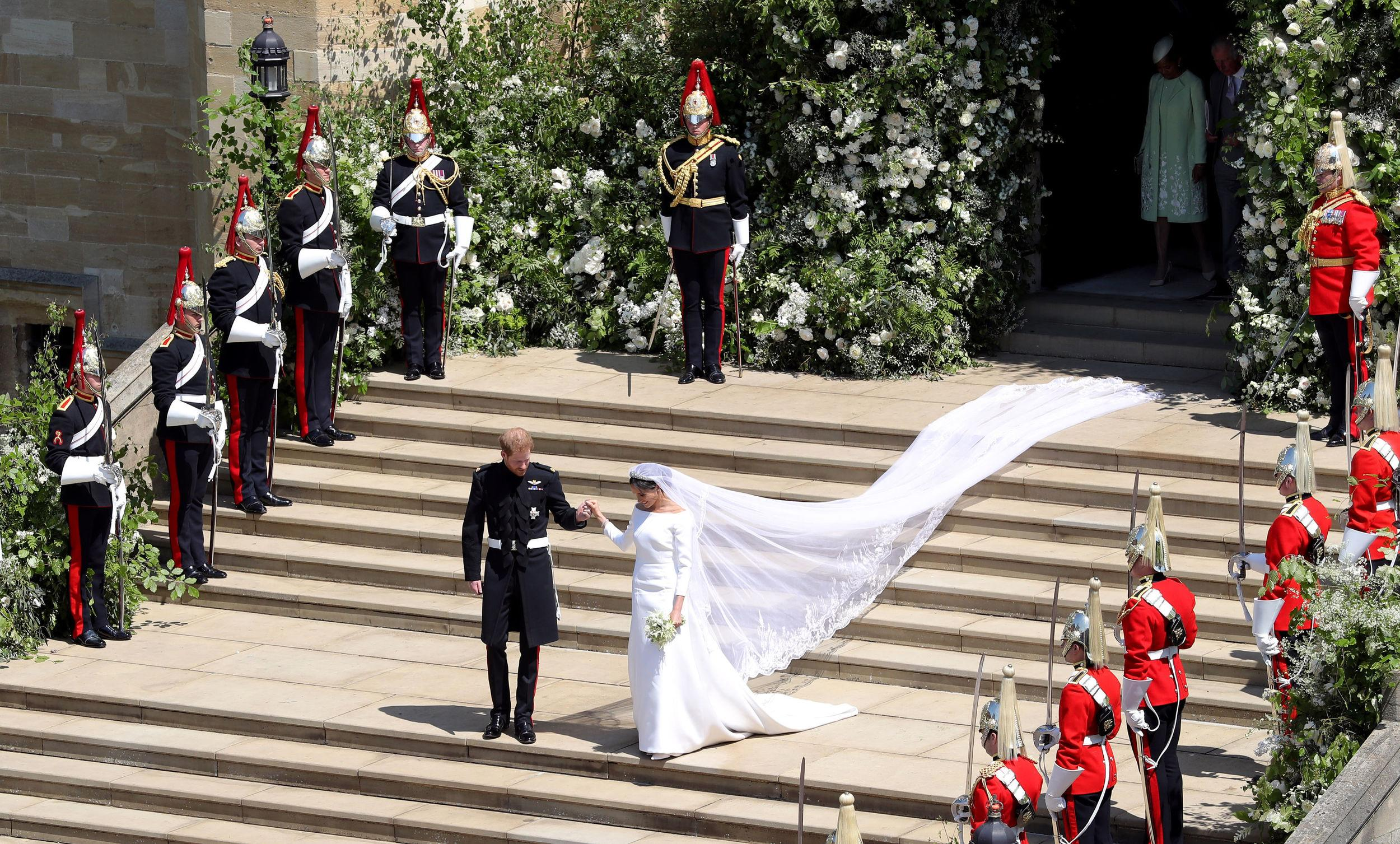 <p>Prince Harry, Duke of Sussex and The Duchess of Sussex leave St George's Chapel, Windsor Castle after their wedding ceremony on May 19, 2018 in Windsor, England.</p>  <p>(Photo by Andrew Matthews - WPA Pool/Getty Images)</p>