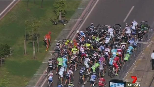 Mass pile-up in cycling race