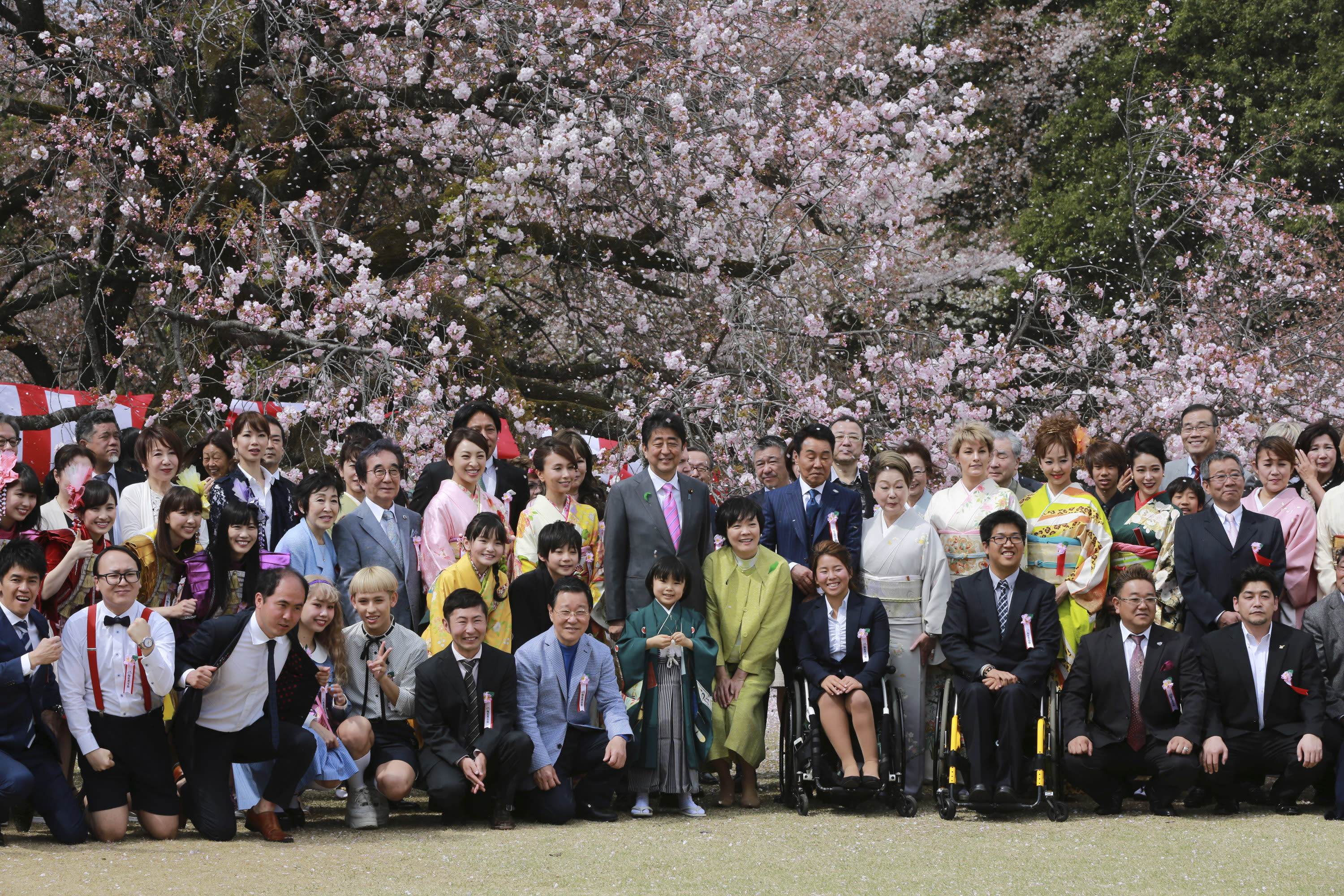 FILE - In this April 15, 2017, file photo, then Japanese Prime Minister Shinzo Abe, center with a pink tie, pose with Japanese artists, entertainers, athletes and other guests during a cherry blossom viewing party hosted by Abe at Shinjuku Gyoen National Garden in Tokyo. On Friday, Sept. 18, 2020, Japanese police arrested a man, who was invited to one of annual cherry blossom viewing parties hosted by the former Prime Minister Abe, in a massive fraud involving thousands of elderly customers(AP Photo/Eugene Hoshiko, File)