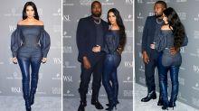 Kim Kardashian wears bizarre skintight leather chaps and jeans combo