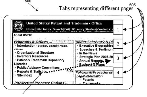 """Creative patent filing reveals drag and drop interface with """"action tabs"""""""