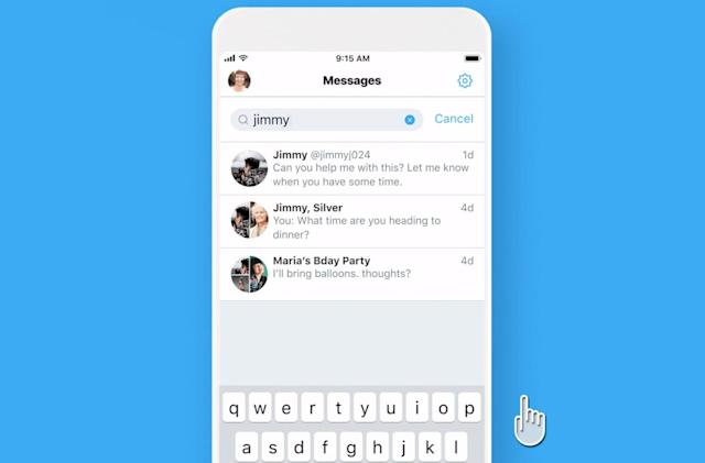 Twitter's DM search is available for all iOS users
