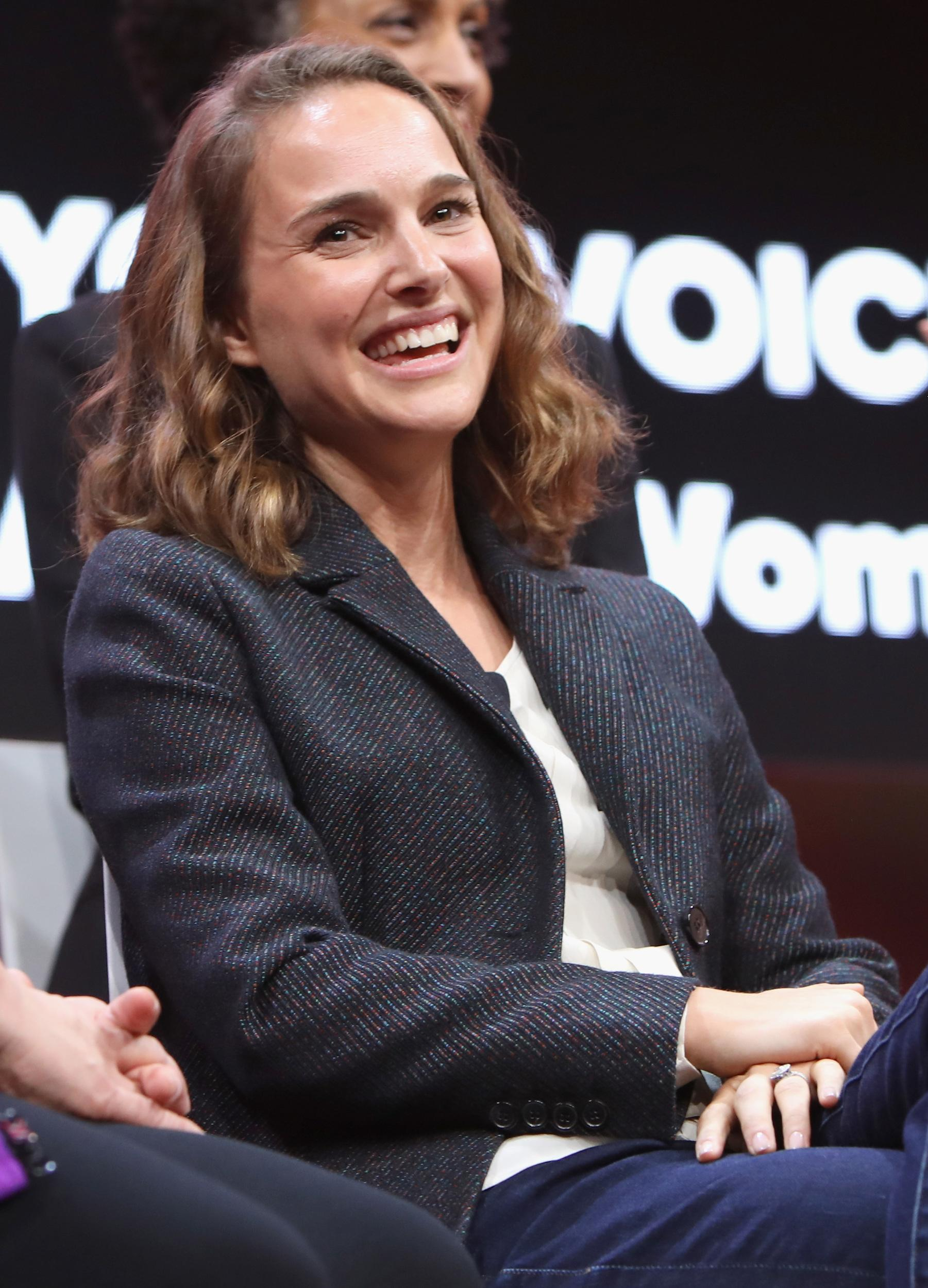 LOS ANGELES, CA - FEBRUARY 05:  Natalie Portman speaks onstage during The 2018 MAKERS Conference at NeueHouse Hollywood on February 5, 2018 in Los Angeles, California.  (Photo by Rachel Murray/Getty Images for MAKERS)