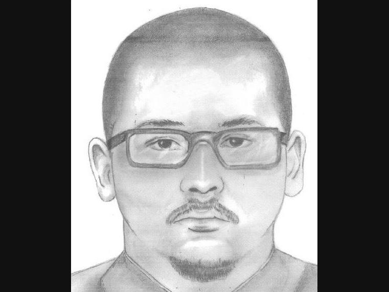 A sketch of the suspect wanted for questioning in the January killing of Home Gardens resident Antonio Anaya, 25.