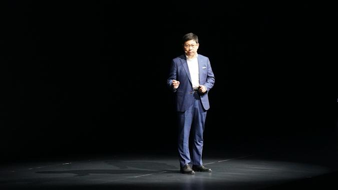 SHANGHAI, CHINA - NOVEMBER 25: Richard Yu Chengdong, CEO of Huawei's consumer business group, unveils premium tablet MatePad series during a launch event at Shanghai U+ Fashion Art Center on November 25, 2019 in Shanghai, China. (Photo by Huanqiu.com/VCG via Getty Images)