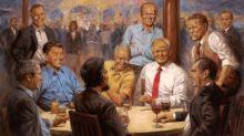 Behind the painting depicting Trump sharing drinks with GOP presidents