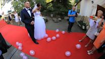 Newlyweds Get Face Full of Confetti
