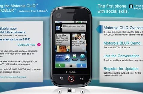 Motorola CLIQ available to T-Mobile customers now, great masses November 2