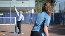 In Pictures: Match fit – Boris Johnson bowls them over in PE lesson