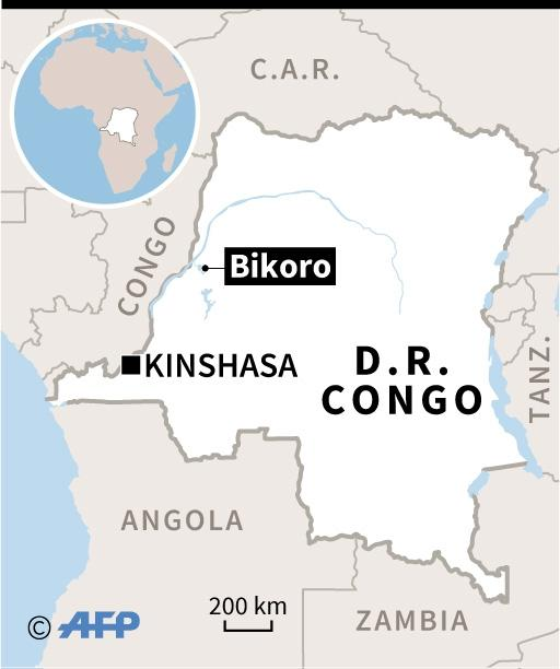 Map of the Democratic Republic of Congo, locating a new outbreak of Ebola virus near the town of Bikoro on the shores of Lake Tumba (AFP Photo/Sabrina BLANCHARD, Vincent LEFAI)