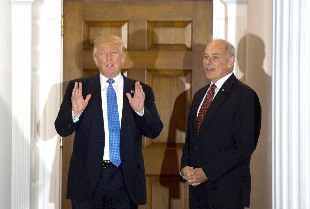 US President-elect Donald Trump held talks with ex-Marine Corps general John Kelly in Bedminster, New Jersey, on November 20 (AFP Photo/Don Emmert)