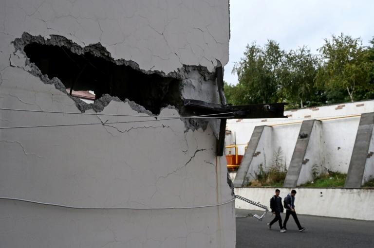 An apartment building was damaged by shelling in the Nagorny Karabakh's main city of Stepanakert