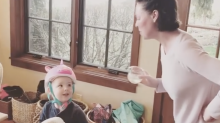 Katherine Heigl pretends her house is a bar in video with 3-year-old son: 'Do you come here a lot?'