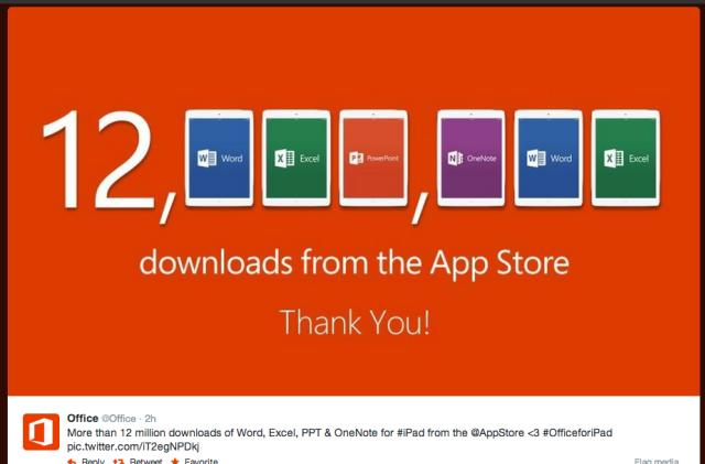 12 million downloads for Office iPad apps and other news from April 3, 2014