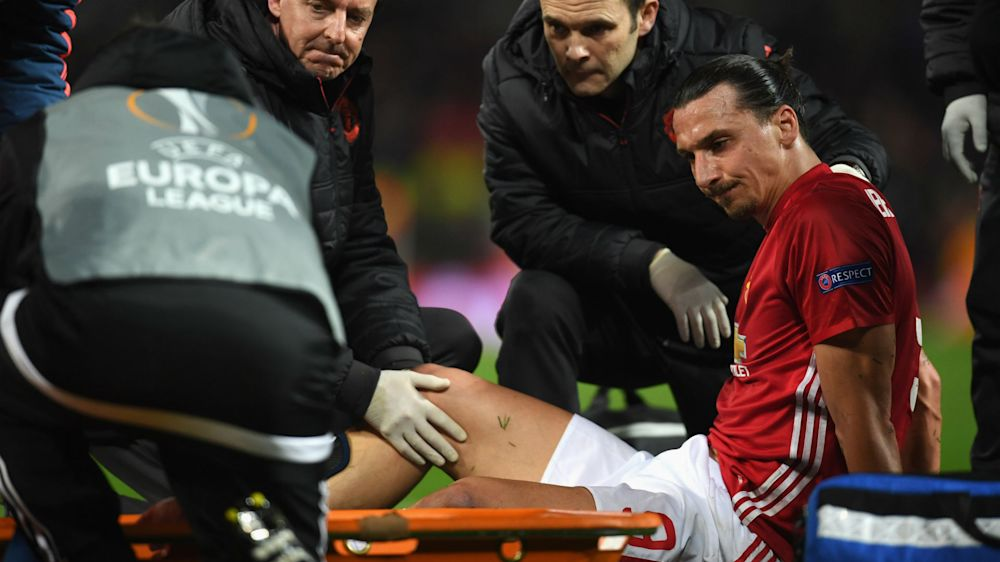 Zlatan Ibrahimovic injured in Manchester United's Europa League victory