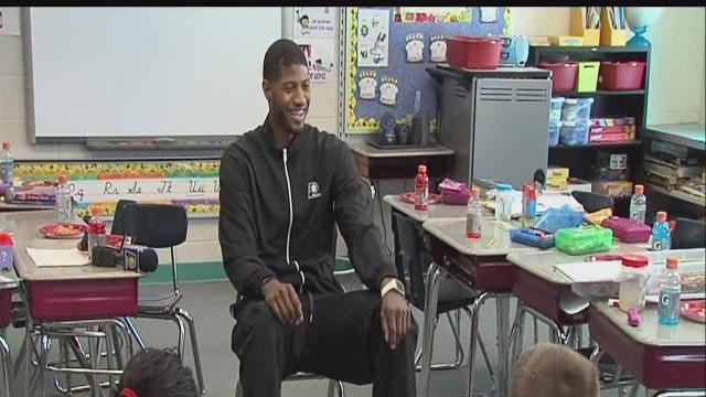 Paul George makes surprise appearance at pizza party