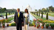 Crowds gather to greet Trump hours before he lands in India