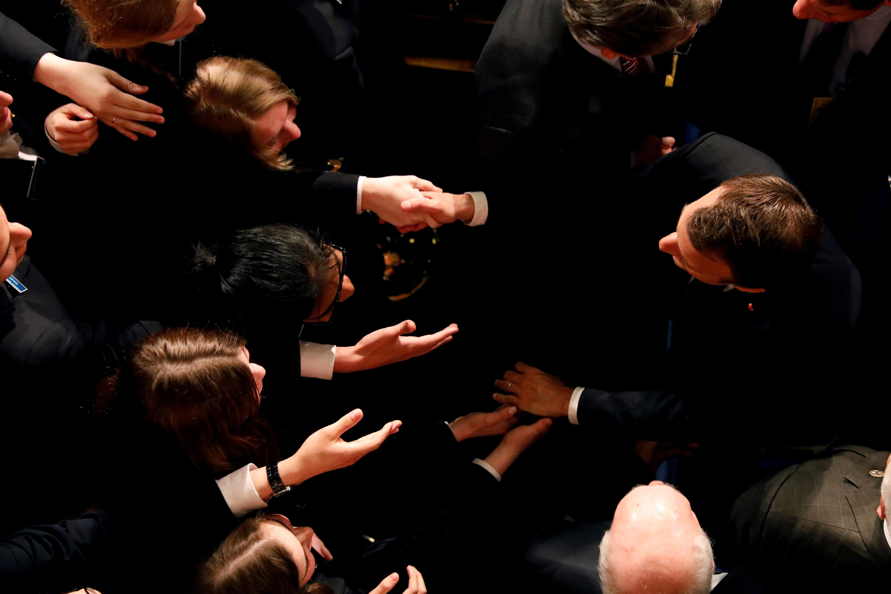 <p>French President Emmanuel Macron greets Senate Pages after addressing a joint session of Congress at the U.S. Capitol in Washington, April 25, 2018. (Photo: Aaron P. Bernstein/Reuters) </p>