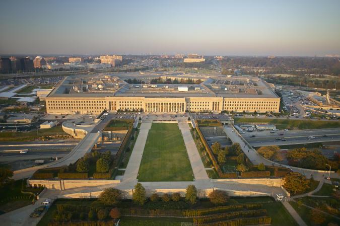 USA, Virginia, Arlington, Aerial photograph of the eastern entrance of the Pentagon