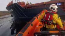 RNLI Lifeboats Cargo Vessel Stranded Off Skye