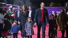 Prince George, Princess Charlotte and Prince Louis make red carpet appearance at the panto with William and Kate