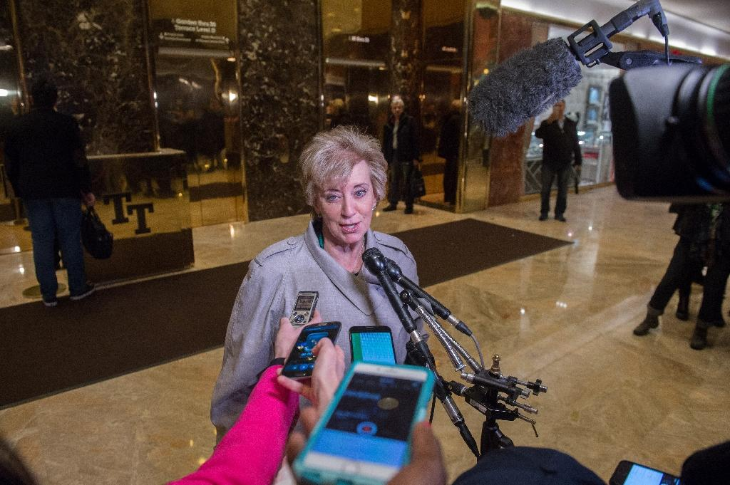 US President-elect Donald Trump announced on December 7, 2016, that he had nominated Former Republican Party Senate candidate Linda McMahon to serve as head of the Small Business Administration, a cabinet-level position (AFP Photo/Bryan R. Smith)