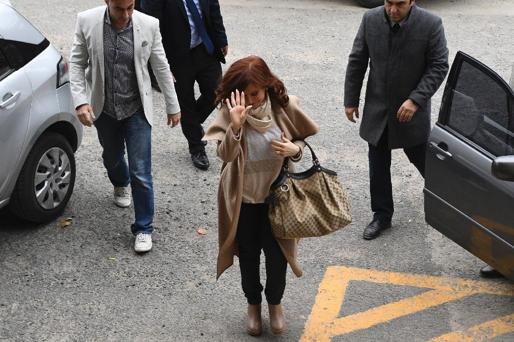 Argentina's former president Cristina Kirchner arrives at court in Buenos Aires to be questioned about a corruption case