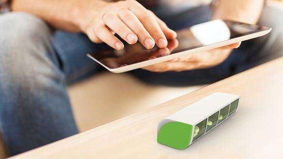 The Liif pillbox connects wirelessly to your smartphone or tablet, reminding you when it's time to take medications.