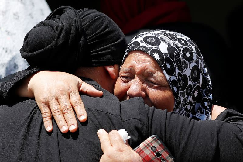 Relatives of Palestinian man Yakoub react during?his funeral in the?Israeli-occupied West Bank