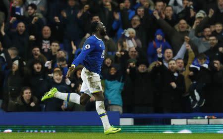 Everton's Romelu Lukaku celebrates scoring their fourth goal