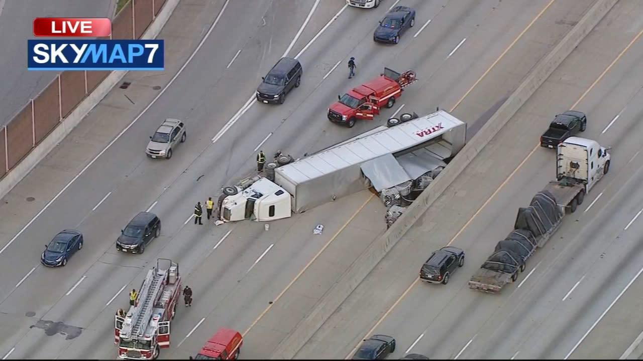 I-80/94 accident: Overturned semi-truck spills honey on EB lanes at Calumet  Avenue