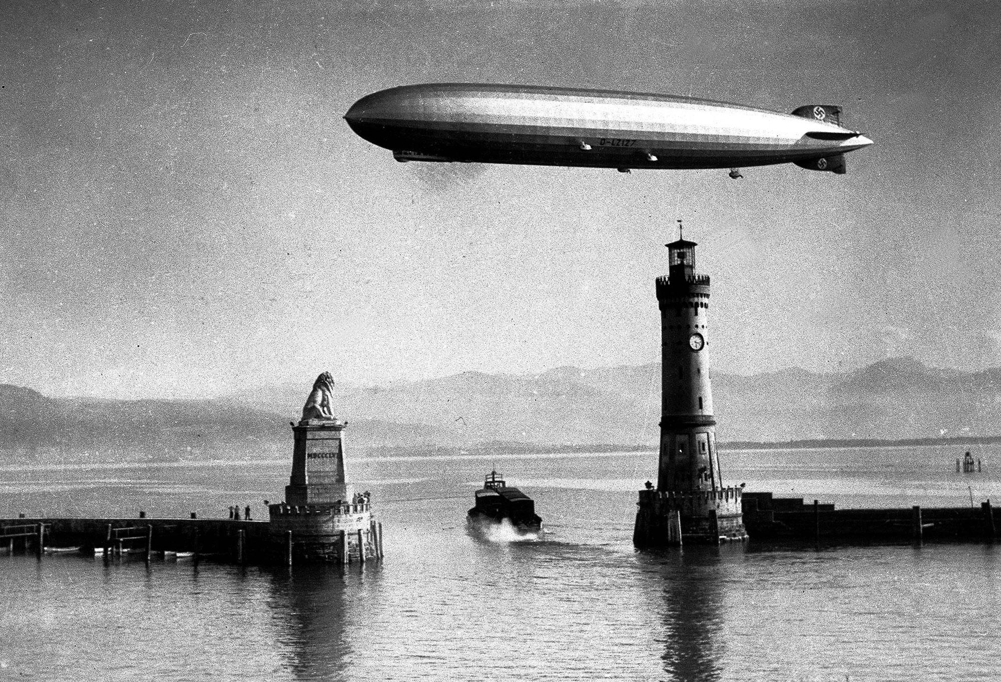 "<p>German zeppelin the ""Hindenburg"" making a test flight in 1936. (Popperfoto/Getty Images) </p>"