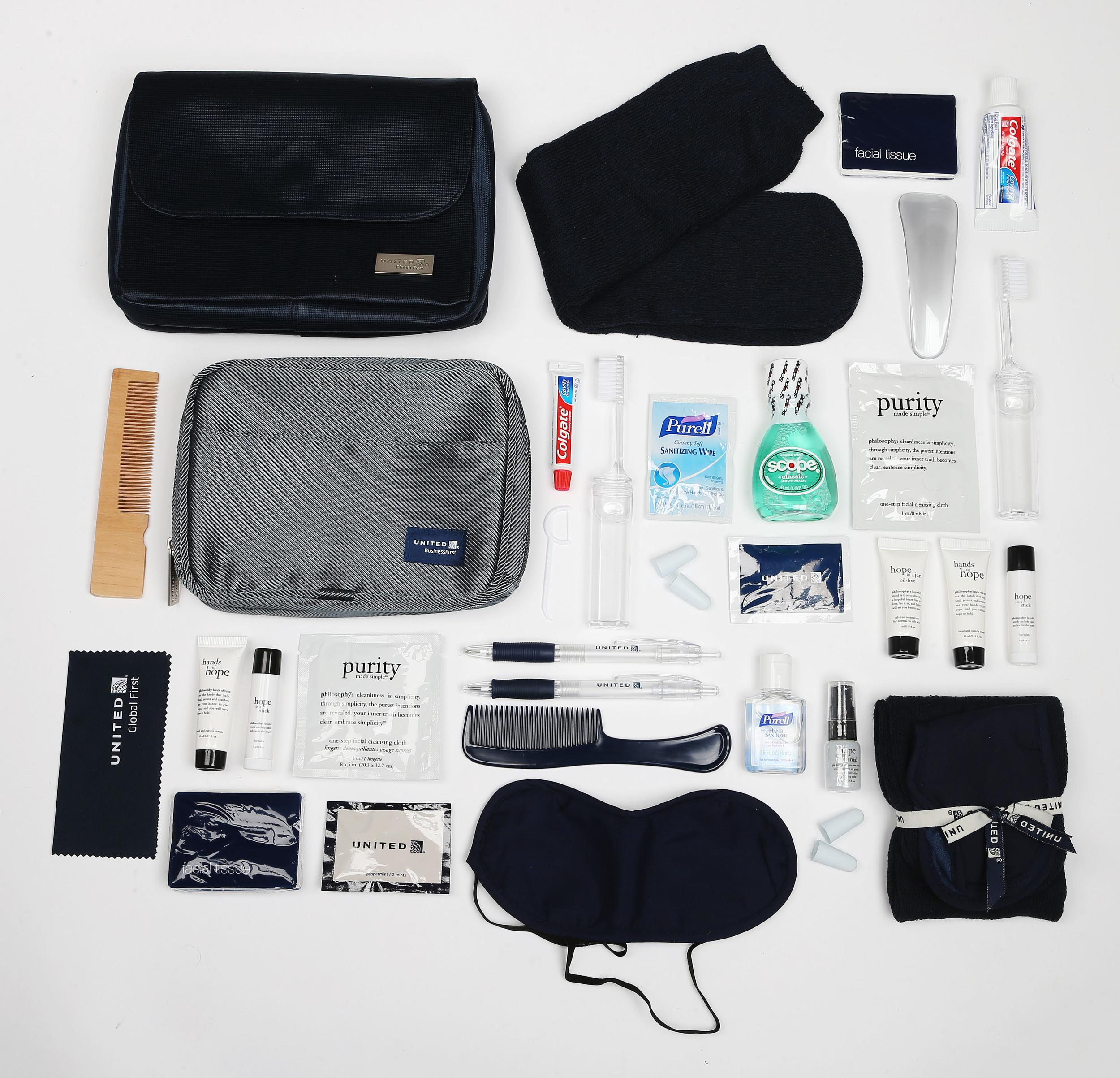 """<p><strong>What do you get?</strong> United Global First: Socks, eye mask, ear plugs, shoe horn, hand sanitiser, toothbrush, toothpaste, mouth wash, flossing stick, tissues, mints, comb, screen wipe, pen, Philosophy products (facial cleaning cloth, hydrating mist, lip balm, moisturiser, hand and cuticle cream)<br /> United Business First: Socks, eye mask, comb, pen, toothbrush, toothpaste, mints, ear plugs, sanitising wipe, tissues, Philosophy goods (hand and cuticle cream, lip balm and one-step facial cleaning cloth)<br /> <strong>Best bit of the kit?</strong> The """"value"""". Between the dental-hygiene products and the skincare products we could survive for a week on this kit.</p>"""