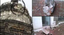 FOTOS: Cae rayo en Catedral Metropolitana; daña un escudo y una guirnalda