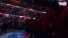 Cavaliers stand, link arms during anthem, while Celtics bow heads