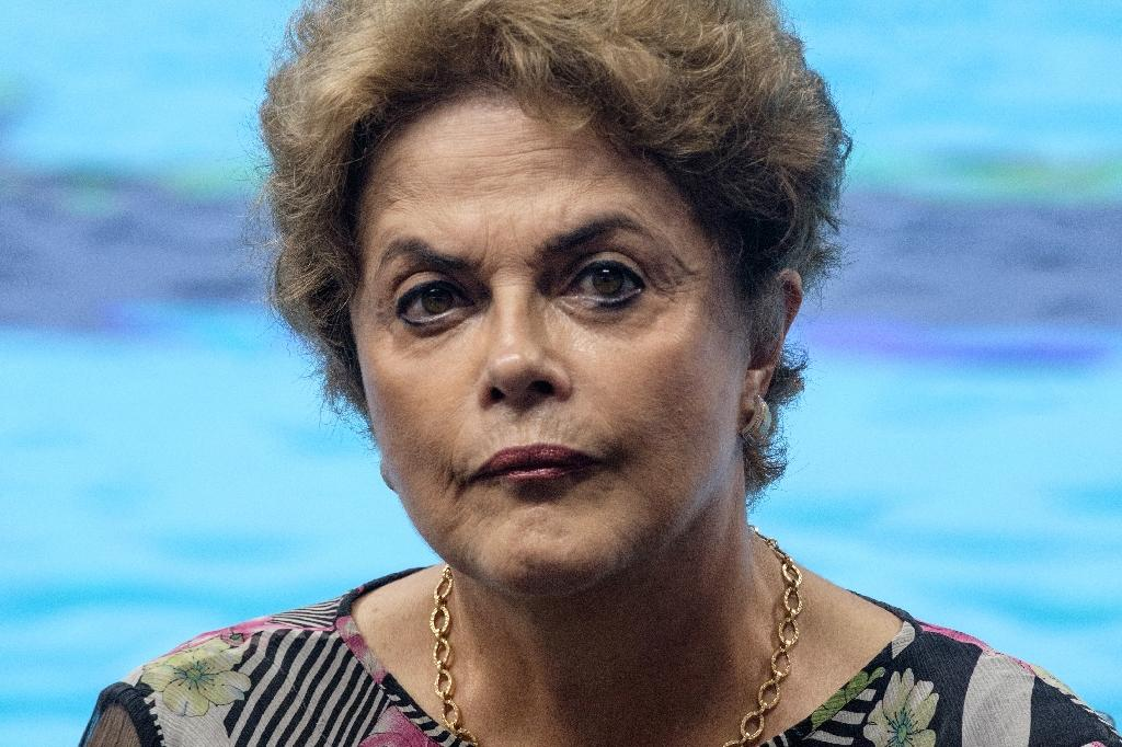 Brazilian President Dilma Rousseff attends the inauguration ceremony of the Olympic Aquatics Stadium in Rio de Janeiro, on April 8, 2016