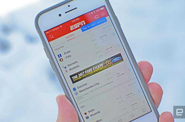 ESPN brings Apple's handy single sign-on tool to its iOS apps