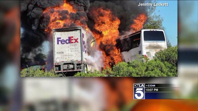 Witness: FedEx Truck Was on Fire Before Deadly Bus Crash