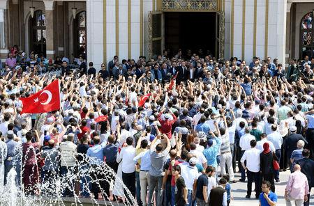 Turkish President Tayyip Erdogan addresses his supporters after the Friday prayers in Ankara, Turkey, July 22, 2016. Kayhan Ozer/Presidential Palace/Handout via REUTERS