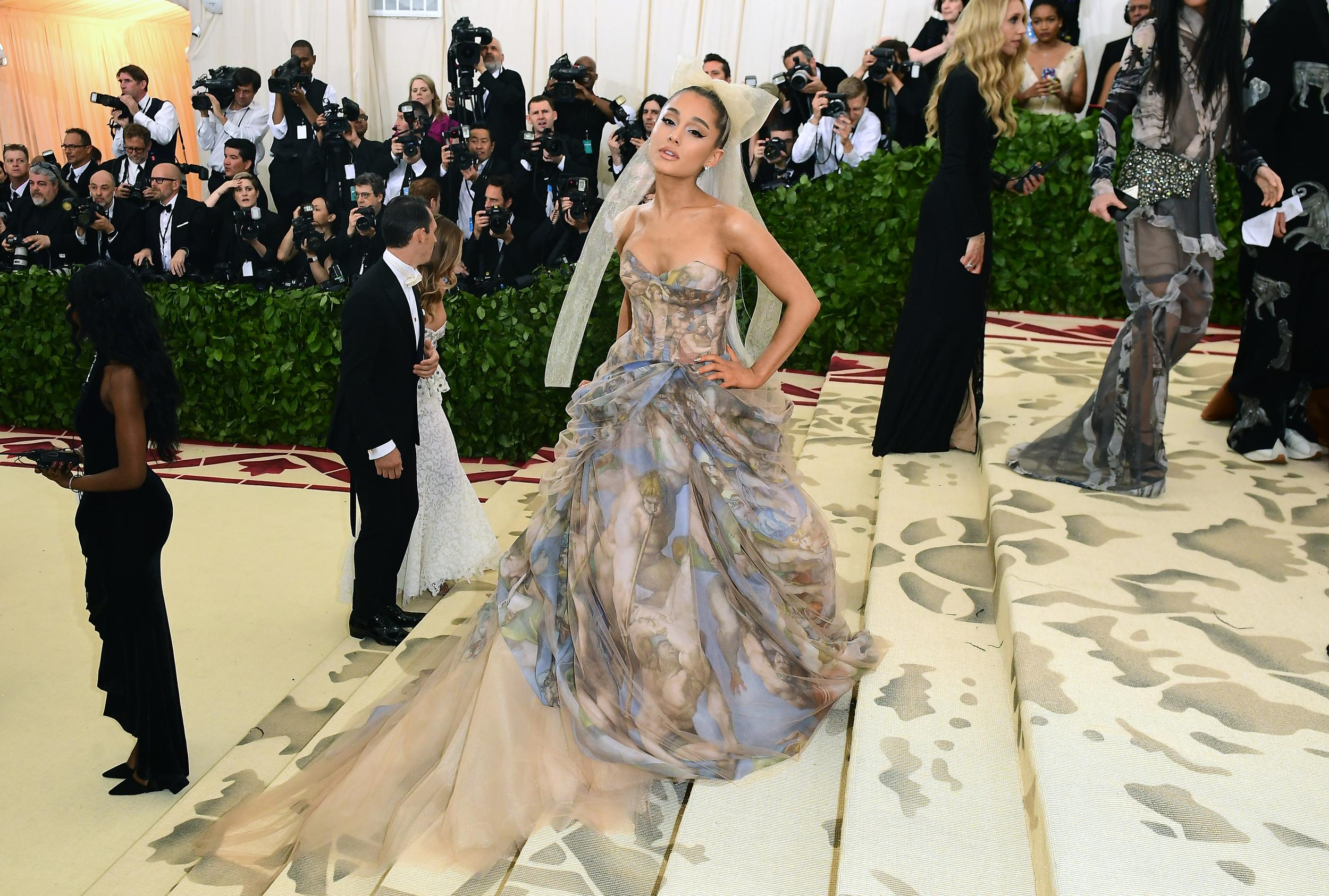 Ariana Grande attending the Metropolitan Museum of Art Costume Institute Benefit Gala 2018 in New York, USA. PRESS ASSOCIATION Photo. Picture date: Picture date: Monday May 7, 2018. See PA story SHOWBIZ MET Gala. Photo credit should read: Ian West/PA Wire