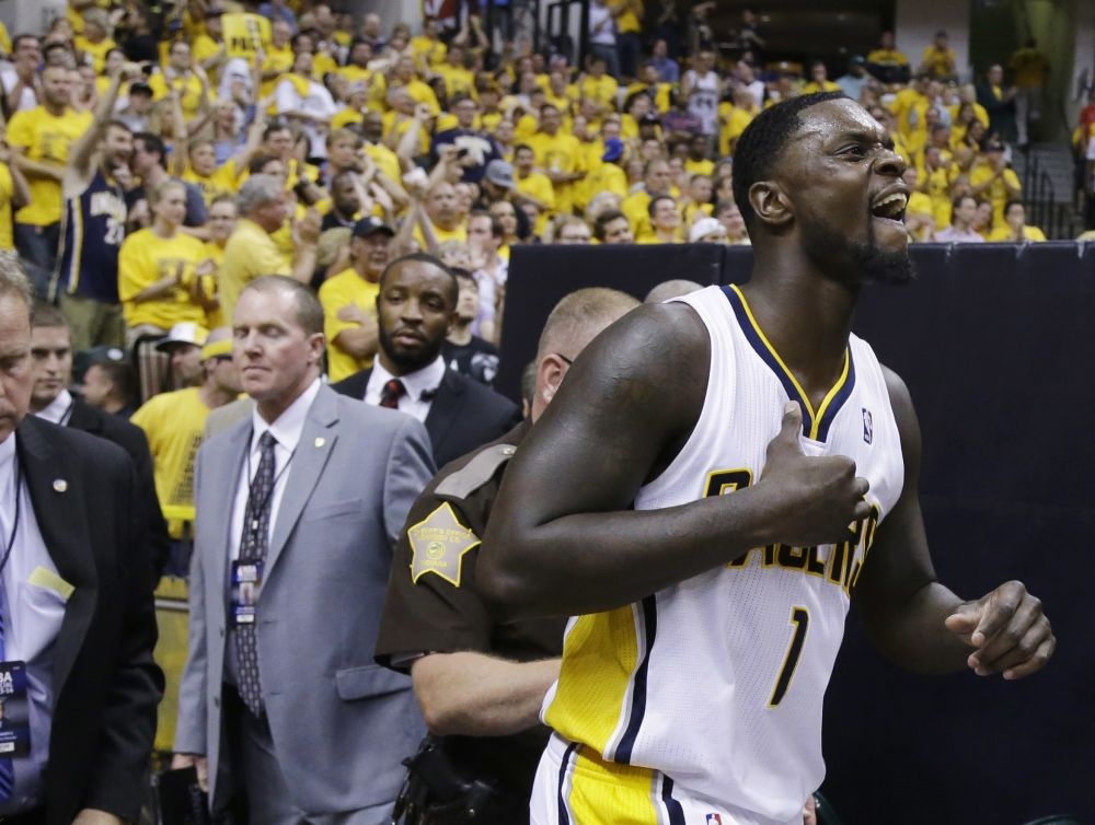 Indiana Pacers guard Lance Stephenson (1) returns to the floor against the Miami Heat during the second half of Game 5 of the NBA basketball Eastern Conference finals in Indianapolis, Wednesday, May 28, 2014