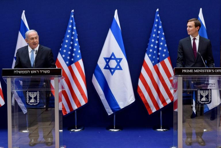Israeli Prime Minister Benjamin Netanyahu (L) and US Presidential Adviser Jared Kushner make joint statements to the press after their meeting in Jerusalem, on Sunday