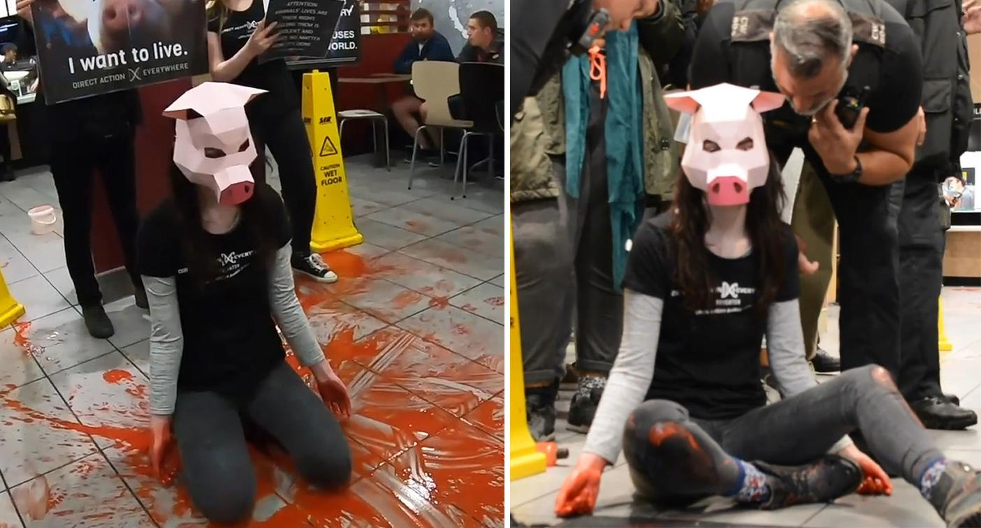 Vegan activist on trial after 'bloody' protest inside McDonald's
